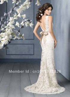 2012 hot  sexy  Mermaid/Trumpet V neck lace wedding dresses Open back-in Wedding Dresses from Apparel  Accessories on Aliexpress.com $120.00
