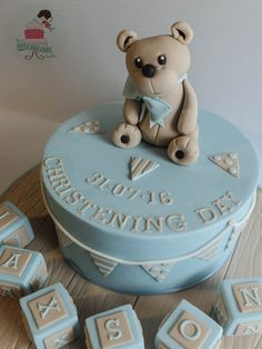A sweet pastel christening cake for baby Jaxson Baby Christening Cakes, Baby Shower Cakes, Baby Cakes, Little Cakes, Bunting, Bear, Sweet, Desserts, Pastel