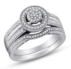 925 Sterling Silver Halo Channel Set Round Cut Diamond Bridal Engagement Ring and Matching Wedding Band Two 2 Ring Set - Round Shape Center Setting - (1/3 cttw.) * To view further, visit now : Bridal Sets