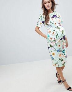 b7802725272e ASOS Maternity | ASOS DESIGN Maternity Wiggle Midi Dress In Floral Print  Asos Maternity Dresses,