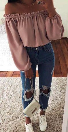 bd8504c575b  spring  outfits purple off-shoulder long-sleeved shirt and blue denim jeans