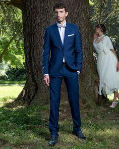 Costume de mariage bleu col châle