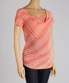 Another great find on #zulily! CT Maternity Coral Swirl Maternity & Nursing Drape Neck Top - Women by CT Maternity #zulilyfinds