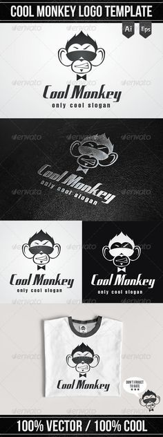 Cool Monkey Logo Template — Vector EPS #brand #ape • Available here → https://graphicriver.net/item/cool-monkey-logo-template/4981718?ref=pxcr