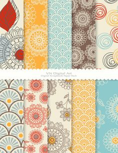 "Digital Scrapbook Paper Pack (8.5x11""-300 dpi) -- 10 Digital papers -- Doodle Flower 356. $3.00, via Etsy."