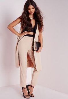 Petite Contrast Waistband Cigarette Trousers Camel