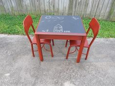 Kids Chalkboard table & chairs (with homemade plaster of paris chalk paint and black chalkboard paint)