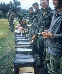 US Soldiers line up for chow in Vietnam.