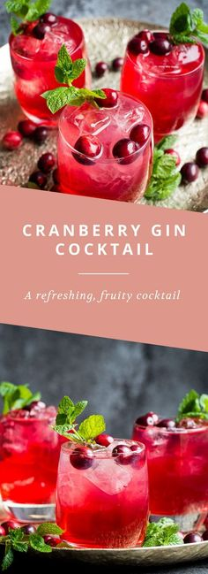 A refreshing, fruity cranberry and gin cocktail