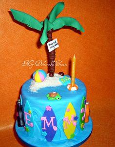 Beach Themed cake for my sister's Birthday