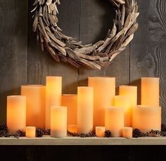 Ivory Wax Flameless Pillar Candles - contemporary - candles and candle holders - Restoration Hardware Flameless Candles, Pillar Candles, Bedroom Candles, Bedroom Decor, Contemporary Candles, Driftwood Wreath, Aromatherapy Candles, Christmas Inspiration, Restoration Hardware