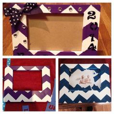 Graduation DIY picture frame! Do it yourself with paint, a wooden frame, some brushes, hot glue, ribbon and some crystals! Amazing grad gift I made for my friends. Super easy to do! Just tape the chevron design and paint! Gift could also be for Mother's Day birthdays long distant relationships ect. GREAT DIY PROJECT AND CHEAP :)