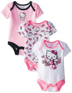 Hello Kitty Baby Baby-Girls Newborn 3 Pack Bodysuits with Bows, Multi, 0-3 Months