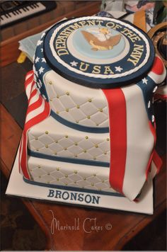 Navy Retirement Cake 3 Tier chocolate marble cake covered in fondant. Military Retirement Parties, Retirement Cakes, Retirement Countdown, Retirement Planning, Retirement Decorations, Party Planning, Military Cake, Military Party, Army Cake