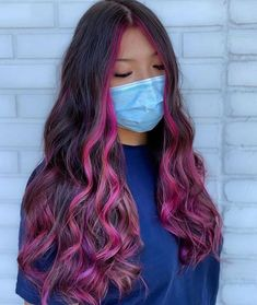 Peekaboo Hair Colors, Cute Hair Colors, Hair Dye Colors, Brown Hair Colors, Dyed Curly Hair, Dyed Hair Blue, Curly Hair Styles, Dip Dyed Hair, Under Hair Dye