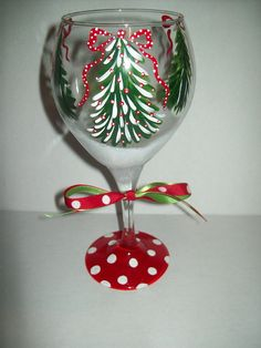 Christmas Tree wine glass. $18.00, via Etsy.