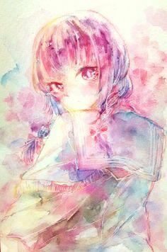 マネ Mane #illustration #originalcharacter #watercolor #girl #イラスト #水彩 #sailer