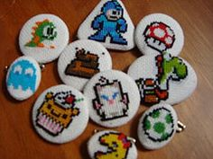 Sweet Video Game Cross-stitch Buttons