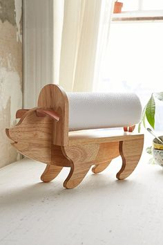 Assembly Home Pig Paper Towel Holder- Brown One from Urban Outfitters. Shop more products from Urban Outfitters on Wanelo. Wooden Projects, Woodworking Projects Diy, Woodworking Plans, Wood Crafts, Diy Projects, Unique Woodworking, Popular Woodworking, Pig Kitchen, Paper Towel Holder