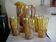 Amberina Carnival Pitcher and Glasses,8 oz Tumblers - Indiana,  Harvest Grapes