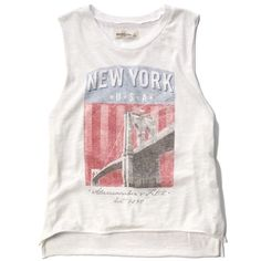 Abercrombie & Fitch New York USA Graphic Muscle Tank ($21) ❤ liked on Polyvore featuring tops, blusas, shirts, white, muscle tank, cotton tank, america shirt, america tank top and graphic tank