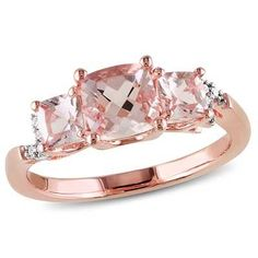 6.0mm Cushion-Cut Morganite and Diamond Accent Three Stone Ring in Rose Rhodium Plated Sterling Silver