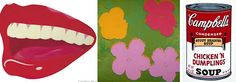 From left: paintings by Andy Warhol, Tom Wesselman