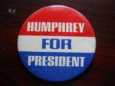 Humphrey Presidential Campaign Button 1968 by PoliticalAmericana, $21.00