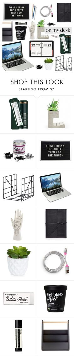 """""""On My Desk 08/16/16"""" by chakragoddess ❤ liked on Polyvore featuring interior, interiors, interior design, home, home decor, interior decorating, Faber-Castell, Seletti, ferm LIVING and Poketo"""