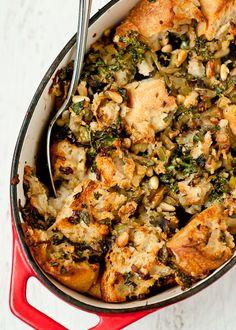 Kale, Dried Porcini Mushroom and Pine Nut Stuffing by @Lindsey Grande Johnson // Cafe Johnsonia