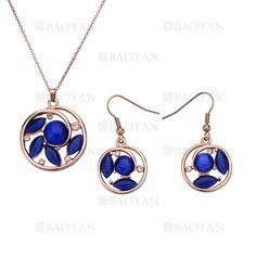 juego collar y pendientes de forma ronda con piedra azul en acero rosado inoxidable -SSNEG403990