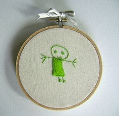 Child's Drawing Embroidered Hoop Art  Green by CandykinsCrafts, $20.00
