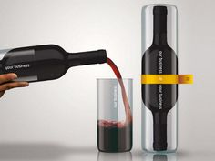 Wine bottle packaging that creates two drinking glasses. | 31 Mind-Blowing Examples of Brilliant Packaging Design