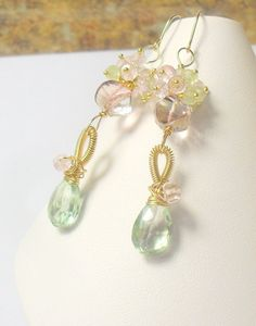 Gemstone Dangle Earrings Green and Pink Quartz  by MiShelli, $138.00