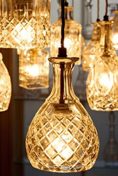Clear crystal decanter pendant light