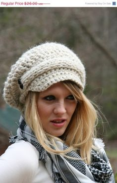 SALE Newsboy Slouchy Hat / The Evreux / Hand by crochetgallery, $21.84