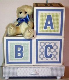 Albums and Refills 33875: Handmade Ooak Scrapbook Album Baby Blocks Baby Boy S First Year -> BUY IT NOW ONLY: $115 on eBay!