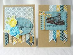 Blue and yellow masculine and feminine cards by @Anita Recksiedler