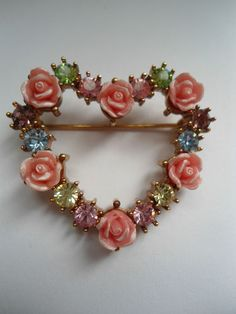 Vintage signed AVON celluloid rose & pastel rhinestone heart brooch!  2hippiechics