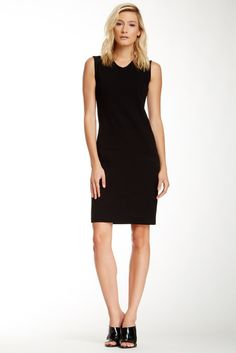 VINCE High V-Neck Dress (paging the Claire Underwood fan club)