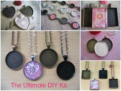 30pc..Starter Kit...30 Piece Pendant and Bracelet DIY Kit...Mix and Match Colors..Bezels, Chains, and Glass.