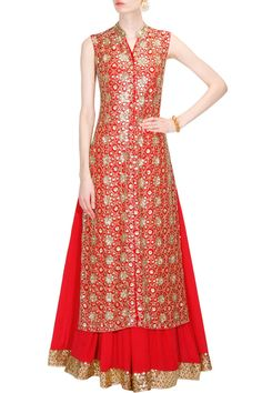 Red floral pattern sequins embroidered jacket kurta and lehenga set available only at Pernia's Pop Up Shop.