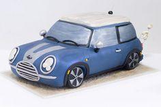 Blue mini cooper cake