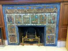 Pewabic Ceramic fireplace  Detroit Public Library