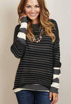 Reversible Stripe Hi Low Sweater Style: SL263 $188.00 www.shopmama.com