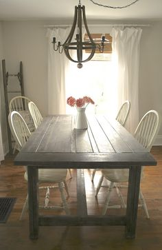 DIY Rustic Farmhouse Table Makeover. I like the style of the table (without the cross-bar in the center) but don't like the chairs.