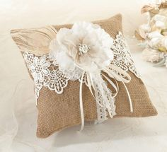 Burlap & Lace Ring Bearer Pillow - Burlap pillow decorated with lace, a fabric flower, French netting, feathers, pearls, and rhinestones.