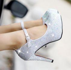 Shinning Rhinestone Platform Ankle Wrap Stiletto High Heels Party Shoes