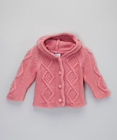 Take a look at this Raspberry Knit Hoodie Cardigan - Infant & Toddler by fingerprints new york on #zulily today!