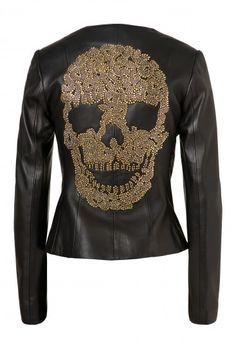 We love this Philipp Plein 'Say My Name' Skull leather jacket!